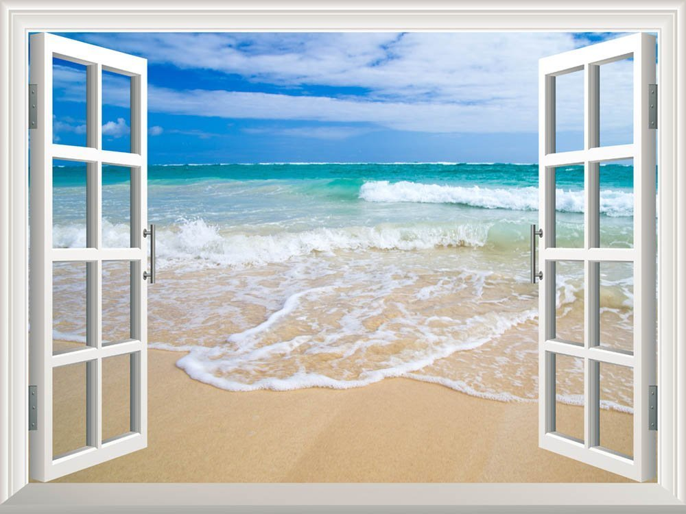 Art prints framed art canvas prints for Beach window mural
