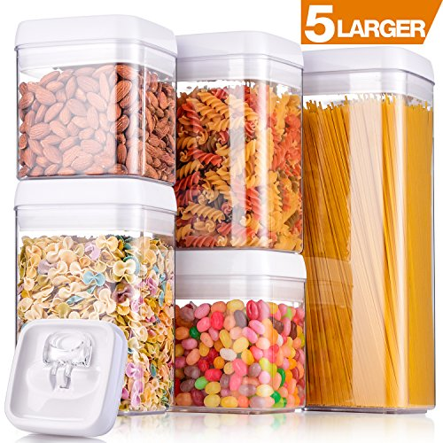 "Larger Storage Container, [5-Piece] Senbowe Air-Tight Food Storage Container Set - BPA Free - Durable Plastic - Clear Visual Window with White Lids - Keep Food Dry & Fresh with Easy Lock (4.8'' x 4.8"") by senbowe"