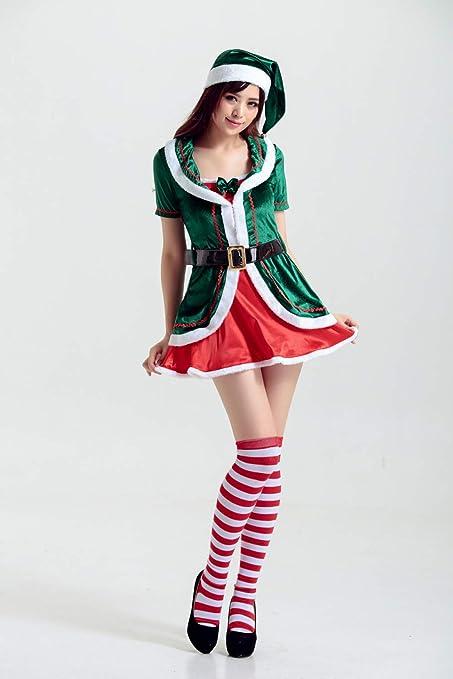 Amazon.com: TUJHGF Traje De Navidad Cosplay Elfo Verde ...