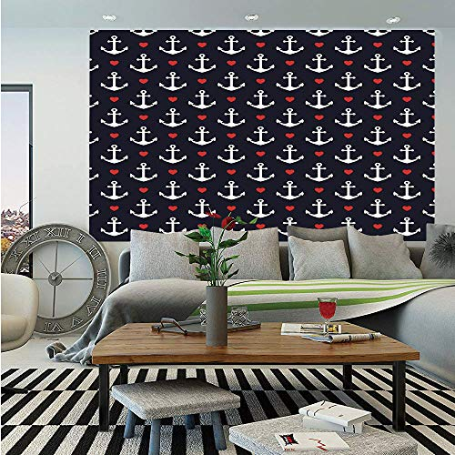 Anchor Huge Photo Wall Mural,Romantic Cruise Trip Pattern Little Hearts Vacation Sailor Love The Sea Decorative,Self-Adhesive Large Wallpaper for Home Decor 100x144 inches,Black Vermilion - Love Photo Cruises