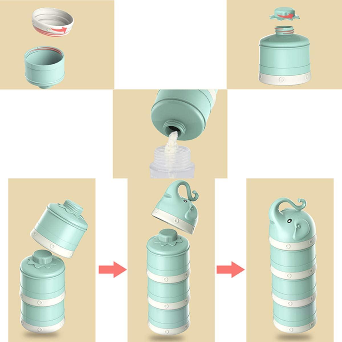OZCOWBABY Dispensadores de leche en polvo apilable Caja de Ollas Essentials de Viaje para Beb/é de 3 Capas almacenamiento de contenedores de aperitivos Rosado