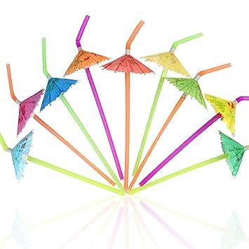 Tomnk 120pcs Pajitas en forma de paraguas Pajitas de bebida flexibles desechables Pajitas de plástico