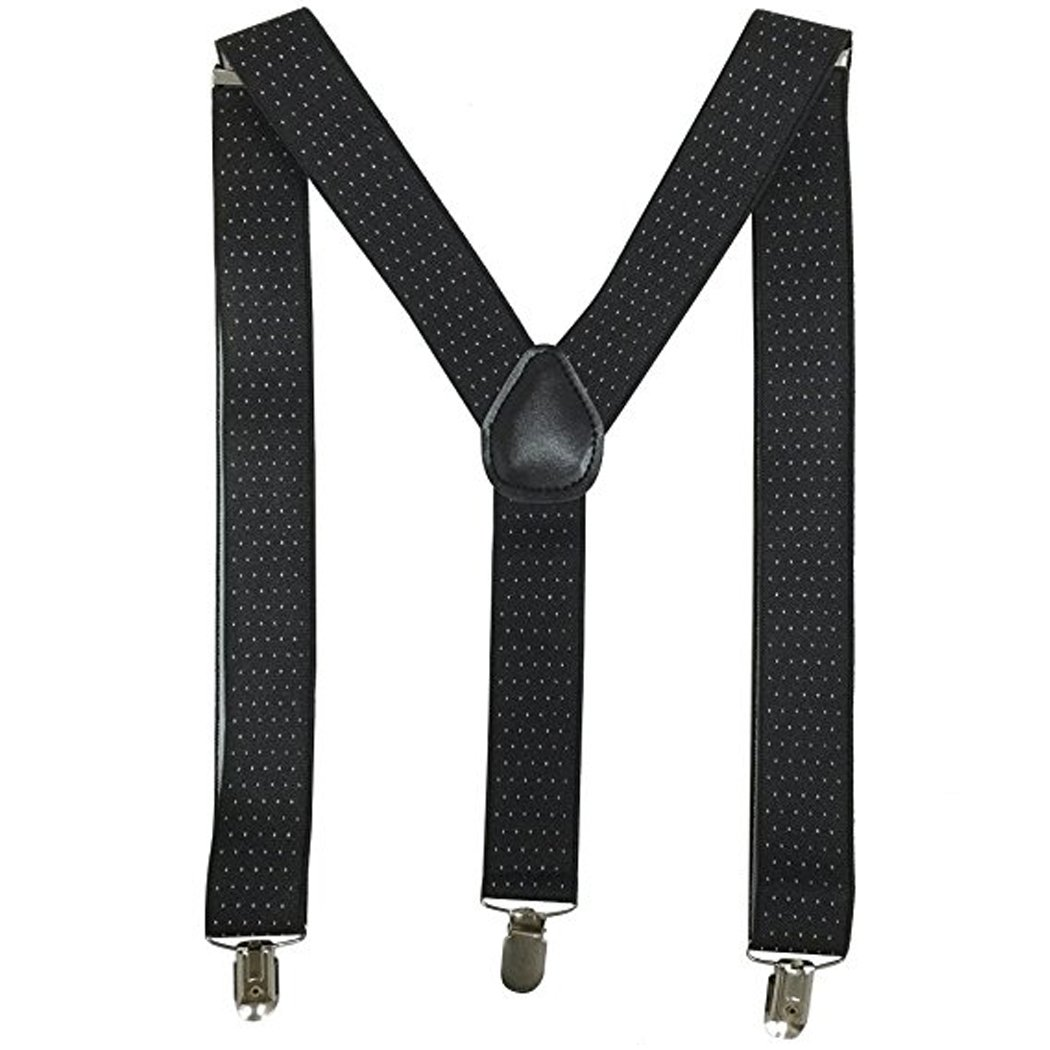 Kllniss Men's Clip Suspender Y-Back Adjustable Elastic Shoulder Strap 1.4'' Wide (One Size, Black) by Kllniss (Image #1)