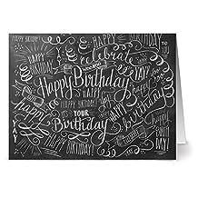 24 Chalkboard Note Cards - Birthday Bash - Blank Cards - Kraft Envelopes Included
