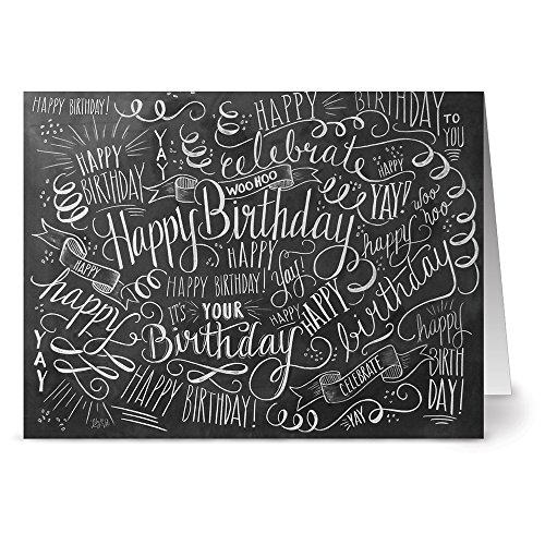 Birthday Bash - 36 Chalkboard Note Cards - Blank Cards - Kraft Envelopes Included