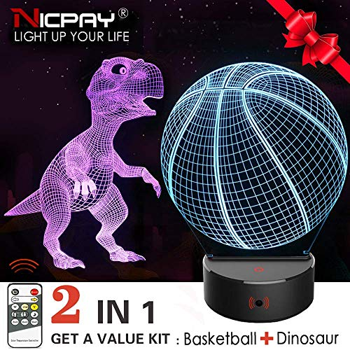 (Dinosaur Night Light for Kids,2Pcs 3D Basketball & Dinosaur Lamp,7 Colors Change Remote & Touch Control Nightlight-Top Birthday New Year Gifts Idea for Boys Girls Kids)