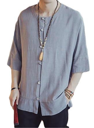 5a94d09c0301e9 Amazon | ZhongJue(ジュージェン) メンズ リネンシャツ ゆったり7分袖 無地 tシャツ 綿麻tシャツ白シャツ大きいサイズM-3L |  Tシャツ・カットソー 通販