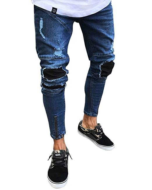 Pantalones Vaqueros Rotos Hombre Slim Fit Stretch Skinny ...