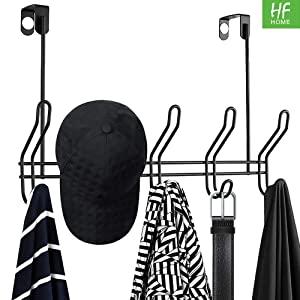 Over The Door 5 Hook Rack - Clothes, Coat, Hat, Belt, Towels - Stylish Over Door Hanger for Home or Office Use (Pack of 1)