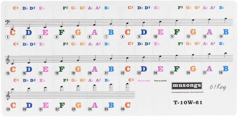 Kalaok Pegatinas de teclado de piano extraíbles transparentes para teclados de 61 teclas para niños Práctica de piano para principiantes