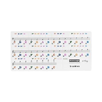 ammoon Teclado de Piano Transparente Desmontable Pegatinas para Teclados de 61 Teclas para Niños Principiantes Piano