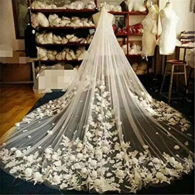 Newdeve 3M 1T White Bridal Veils with 3D Floral Appliques Free Comb