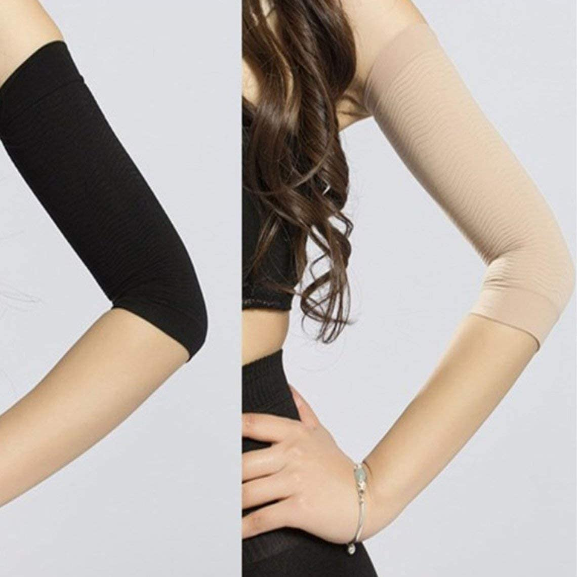 zinniaya 1 Pair 420D Compression Slimming Arms Sleeves Workout Toning Burn Cellulite Shaper Fat Burning Sleeves for Women