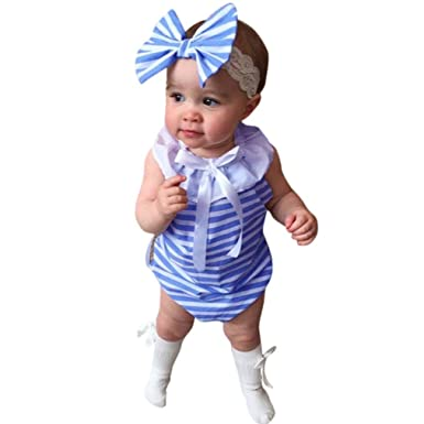 5df5ddf25 Sunward Summer Toddler Kids Baby Girl Cute Bow Striped Bodysuit Romper  Jumpsuit Outfits Clothes (70