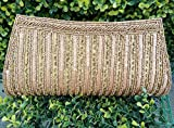 Champagne Clutch |Gorgeous Vintage Bag| Beaded Clutch | Hand Embroidered Bronze Clutch| Hand Bag| Wedding| Festival Gift for Women