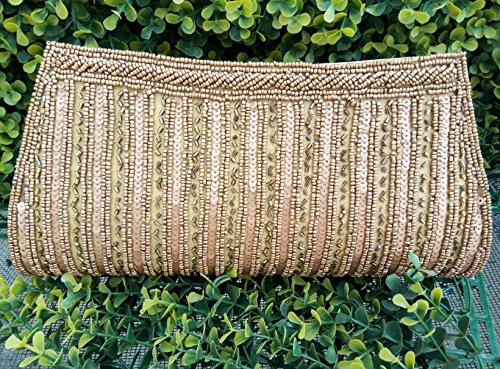 Champagne Clutch |Gorgeous Vintage Bag| Beaded Clutch | Hand Embroidered Bronze Clutch| Hand Bag| Wedding| Festival Gift for Women by Artcraving