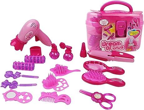 Toyvian Juguetes Kit de Maquillaje Juguete para niña Juego de imaginación Estación de peluquería Secador de Pelo Cepillo para Espejos Accesorios: Amazon.es: Juguetes y juegos