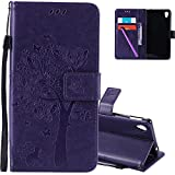 HMTECHUS Sony Xperia M4 Aqua case 3D Embossed Love Tree Cat Butterfly Pattern Handmade PU Flip Stand Card Holders Wallet Protective Cover for Sony Xperia M4 Aqua Wishing Tree Purple KT
