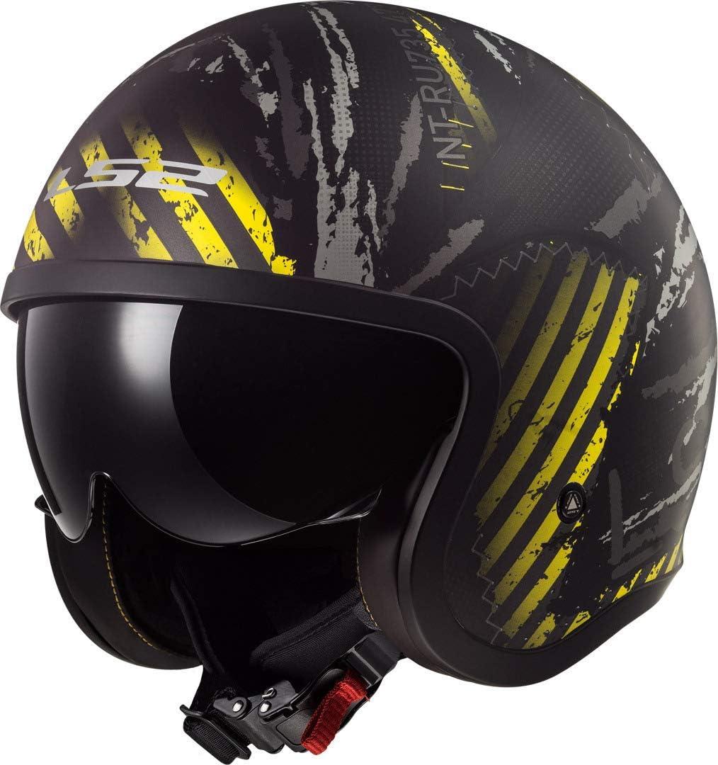Ls2 Herren Nc Motorrad Helm Schwarz Gelb Xs Auto