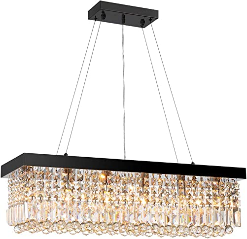 7PM Rectangle K9 Crystal Chandelier Modern Rectangular Pendant Lighting Fixture