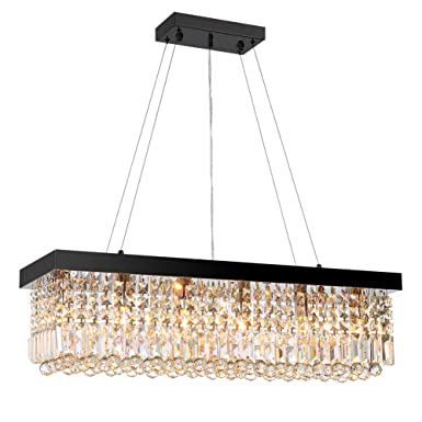 7PM W40 x D10 Modern Rain Drop Rectangle Clear K9 Crystal Chandelier Pendant Lamp Lighting Fixture 8 Lights for Dining Living Bedroom Room Black Frame