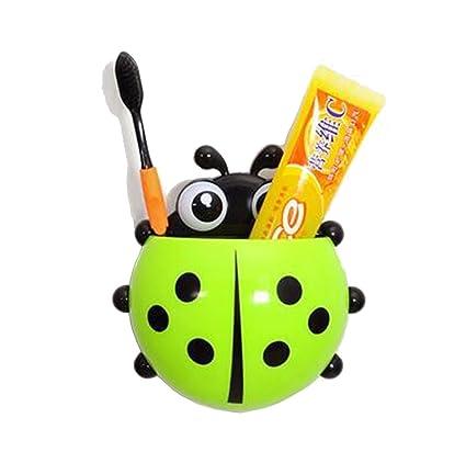 harleya Cute Ladybug soporte de ventosa ganchos de pared cepillo de dientes cepillo de dientes contenedor