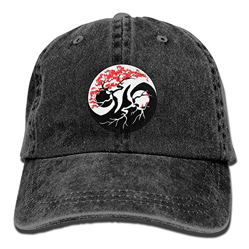 SJIEXZ Bonsai Tree Yin Yang Womens Strapback Denim Baseball Cap Sun Protection Cricket Cap Cat Crickets