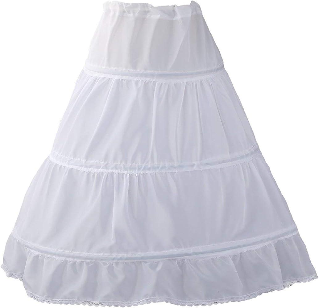 Vicokity Girls 3 Hoops Underskirt Petticoat Long Crinoline for Kids Flower Girl Dress