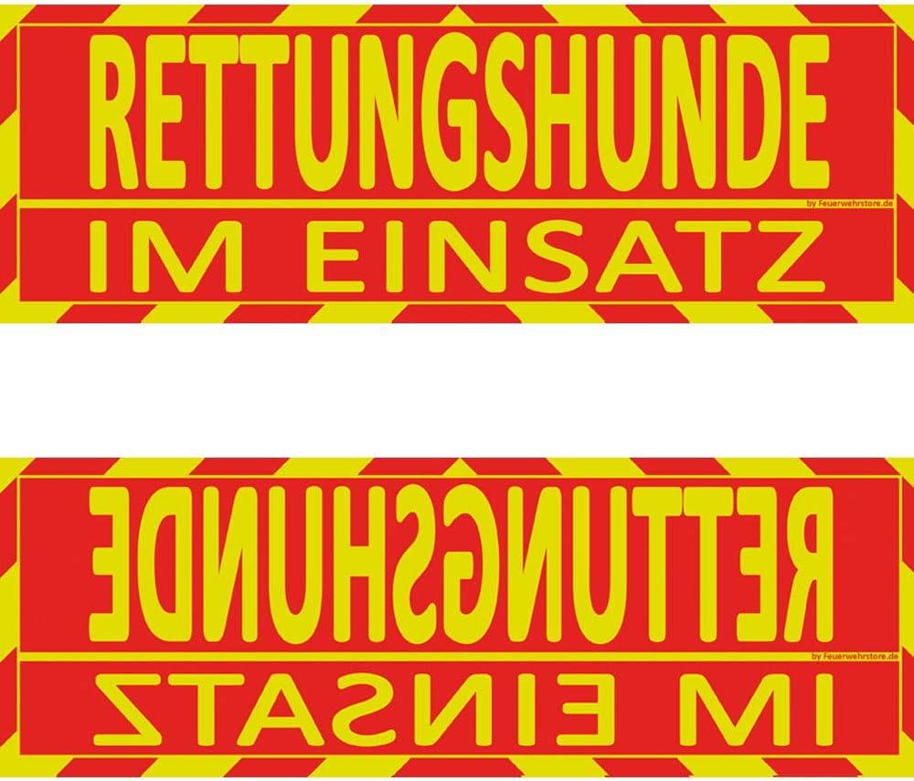 Feuerwehrstore Rettungshunde Im Einsatz Wendeschild Wsb2 Für Die Sonnenblende In Normal Spiegelschrift Rettungshunde Auto