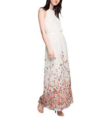 ESPRIT Collection Damen Kleid fließende Chiffon Qualität, Maxi, Gr. 42,  Mehrfarbig (OFF WHITE 2 111): Amazon.de: Schuhe & Handtaschen