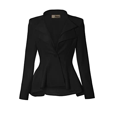 Hybrid & Company Women Double Notch Lapel Sharp Shoulder Pad Office Blazer at Women's Clothing store