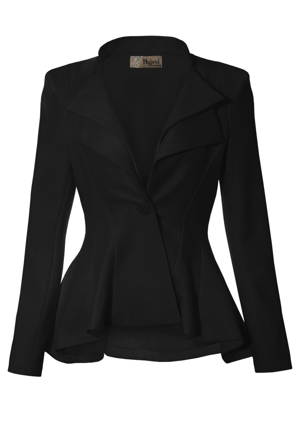 Women Double Notch Lapel Office Blazer JK43864 1073T Black Large
