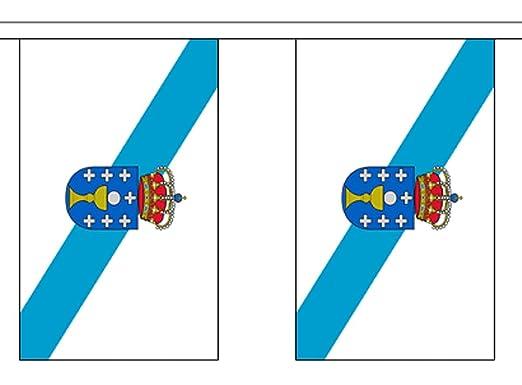 España Galicia bandera de poliéster banderines de 3 M (10)  con 10 banderines: Amazon.es: Hogar