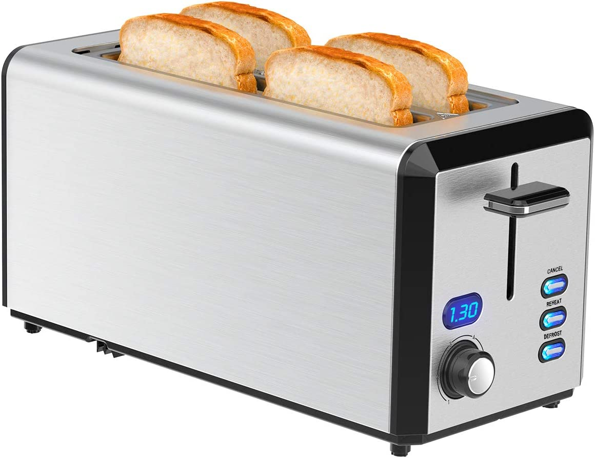 Long Slot Toaster, LOFTer Toaster 4 Slice Best Rated Prime with LED Display, Stainless Steel Smart Bread Toasters with 1.6'' Extra Wide Slots, 6 Browning Settings, Defrost/Reheat/Cancel Function, Removable Crumb Tray, 1300W, Silver