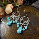 New Chic Fashion Womens Jewelry Turquoise Bead Type Ear Stud Earrings Gift E117