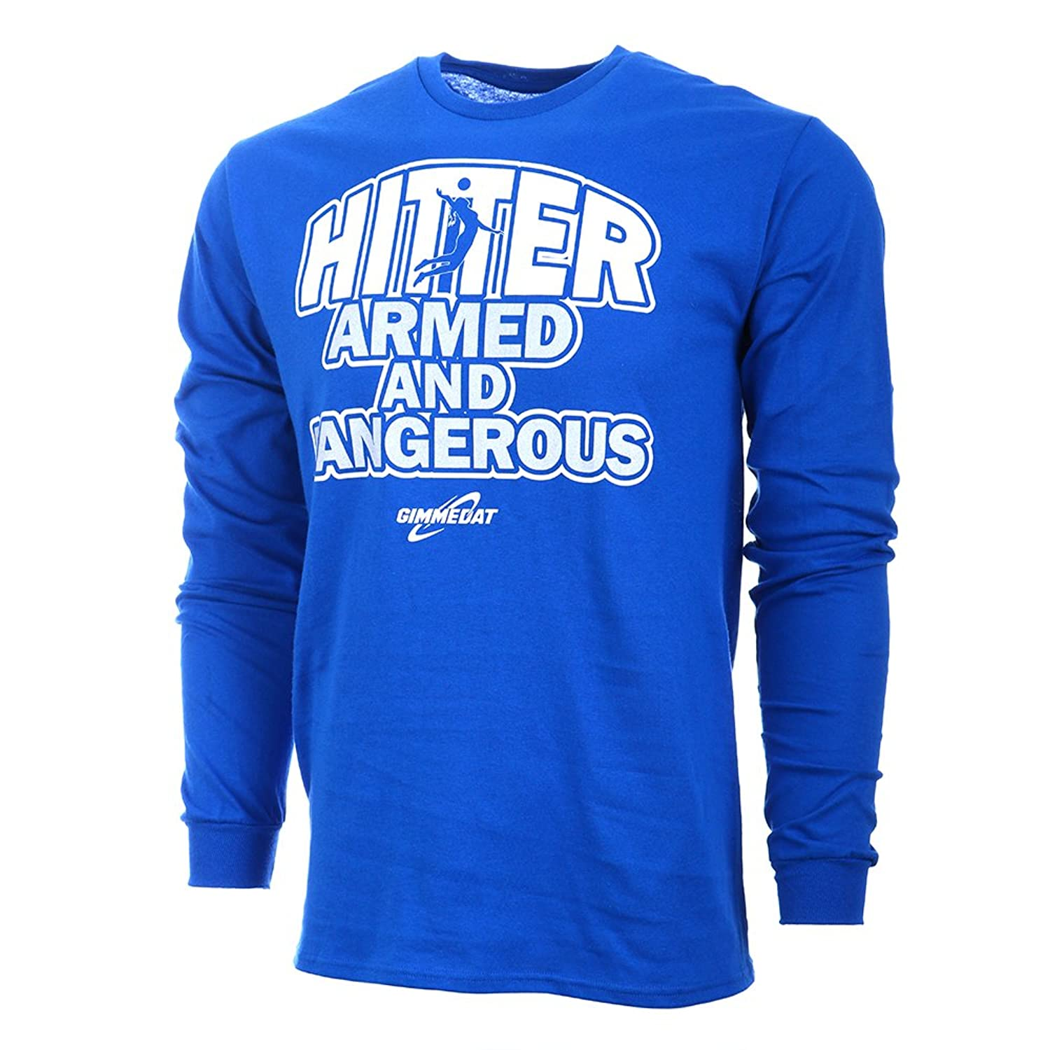 GIMMEDAT Hitter: Armed and Dangerous Long Sleeve Volleyball T-Shirt Royal Blue