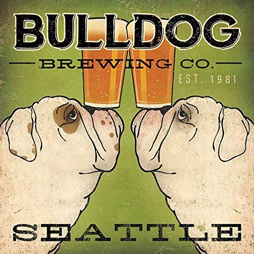 Buyartforless Bulldog Brewing Co Seattle by Ryan Fowler 12x12 Bulldogs Beer Signs Dogs Animals Art Print Poster Wall Decor Vintage Advertising Sign