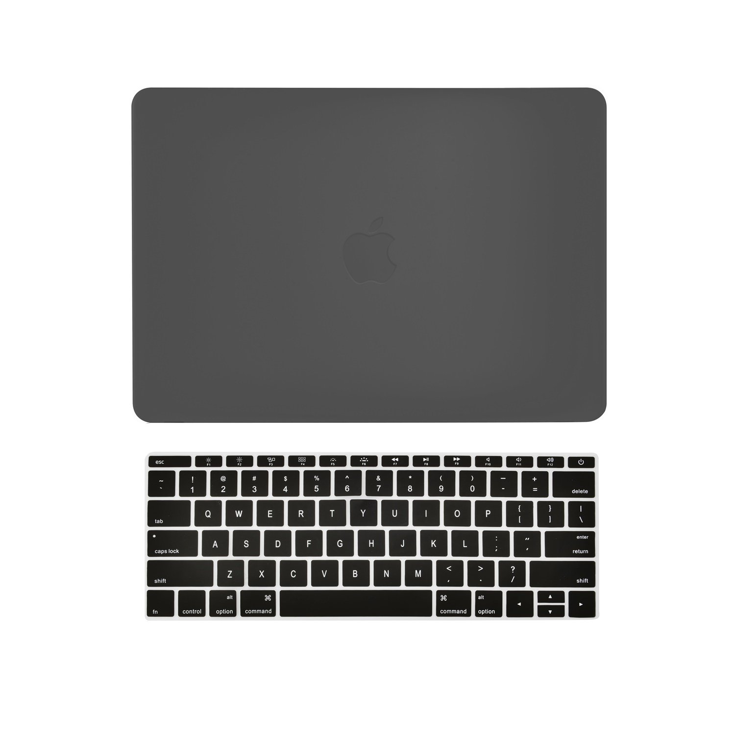 TOP CASE 2 in 1 - Black Rubberized Hard Shell Case Cover and Matching Color Keyboard Cover Skin Compatible with MacBook 12'' Retina Display Model A1534 (Release 2015)