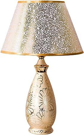 Lampe de table décorée en art doré HALORI salon chambre salle d'étude évier lampe de chevet E27 lampadaire en céramique lampe en PVC (or)
