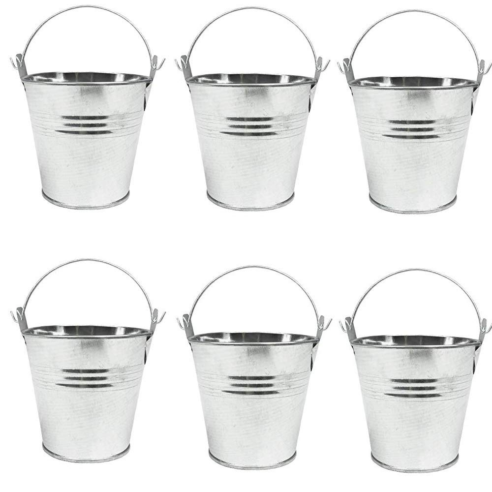 Party Favors Mydio Mini Metal Buckets 12-Pack Party Tin Pail Containers for Gifts 2.1 Inches Tall Candy