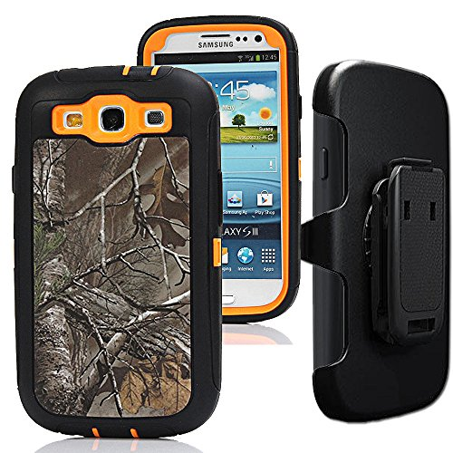 Samsung Galaxy S3 Case,S3 Holster Case,Auker 3 in 1 Shockproof Heavy Duty Natural Tree Camouflage Rugged Silicon Bumper Defender Protective Cover with Built-in Screen Protector/Belt Clip (Xtra)