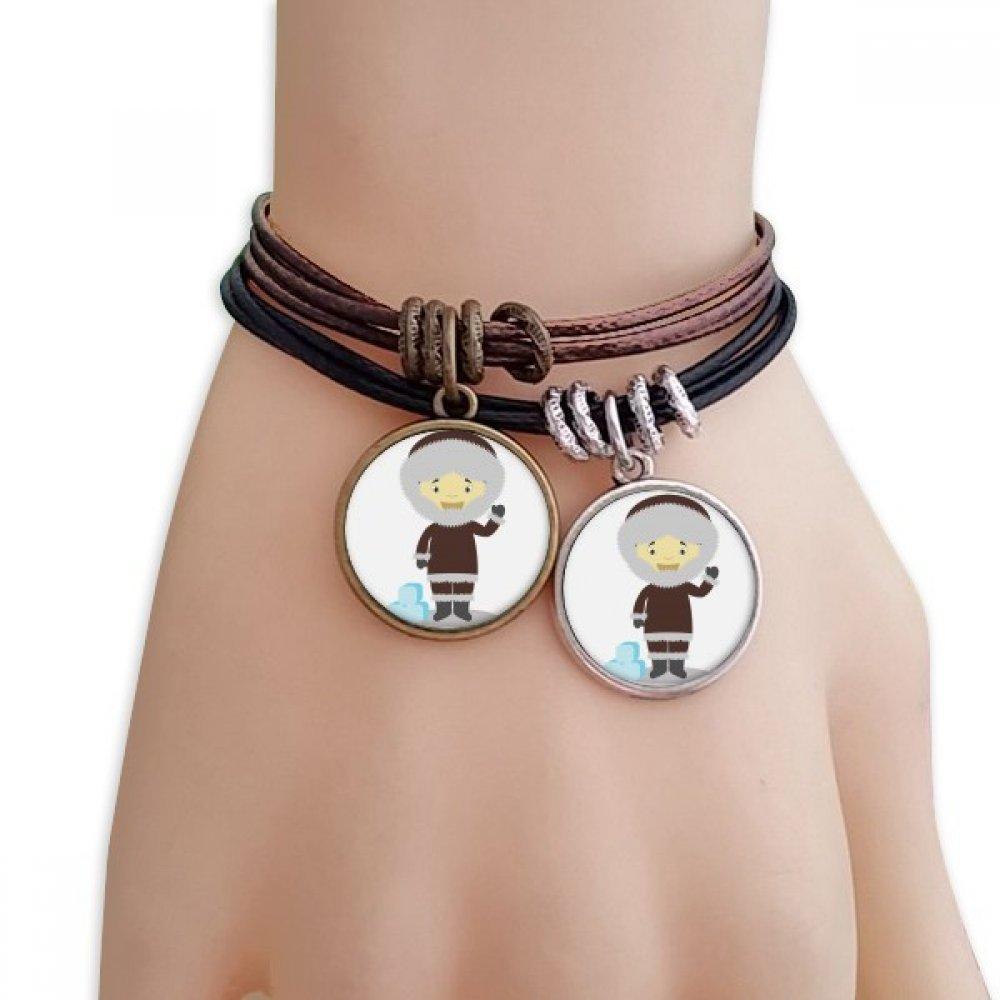 DIYthinker Cold Jacket Greenland Cartoon Bracelet Double Leather Rope Wristband Couple Set