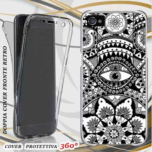 CUSTODIA COVER CASE MANDALA BLACK PER IPHONE 5 FRONT BACK