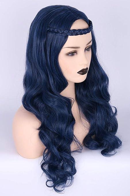 Topcosplay - Peluca para niños de color azul con trenzado para disfraz de Halloween, peluca de cosplay para niñas: Amazon.es: Belleza