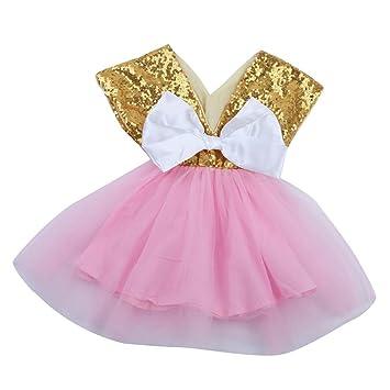 Cute bebé niña lentejuelas con lazo de vestido de fiesta vestidos de novia Formal vestidos de