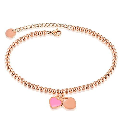 b8f6ae5bc0c7 Onefeart Oro de Rose Plateado Calcetín para Mujeres Chicas Double Amor  Corazón Forma Dulce Cadena de Pie 26CM Oro Rosa  Amazon.es  Joyería