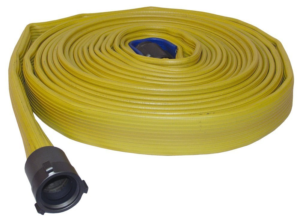 Dixon Valve H615Y50RAF Nitrile 500# Covered Heavy Duty Fire Coupled Hose with Aluminum Rocker Lug, NST Male x NST Female, 225 psi Pressure, 50' Length, 1-1/2'' Hose ID
