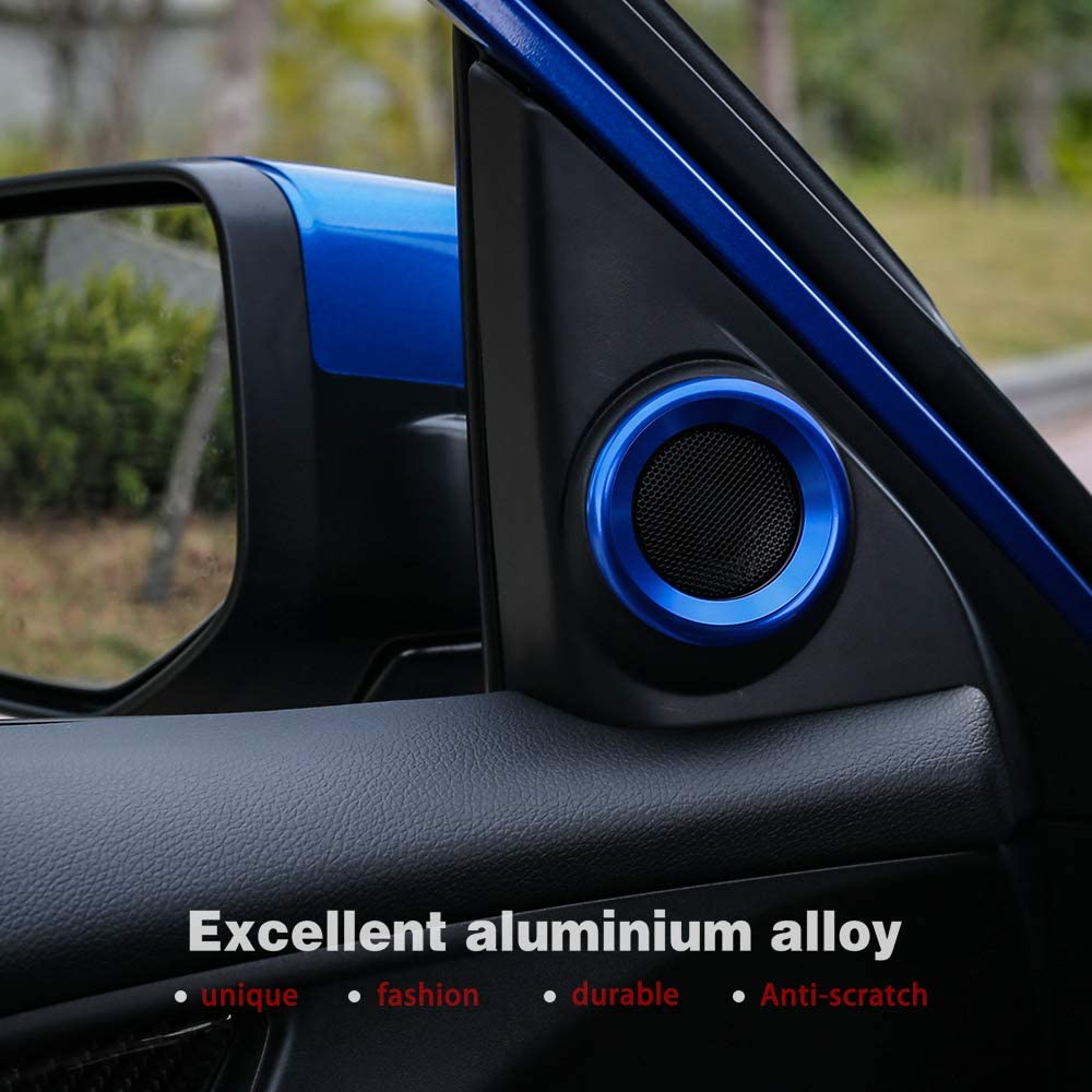 Red Thenice for 10th Gen Civic Door Audio Speaker Rings Anodized Aluminum A-Pillar Loudspeaker Decorations Circle Trims for Honda Civic 2016 2017 2018 2019