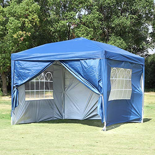 Blue Canopy Gazebo - Easyzon EZ Pop Up Patio Canopy Tent Heavy Duty Gazebo Pavilion Outdoor Party Commercial Instant Tents Impact Canopies with Sidewalls,10 x 10 FT,Blue with sidewalls