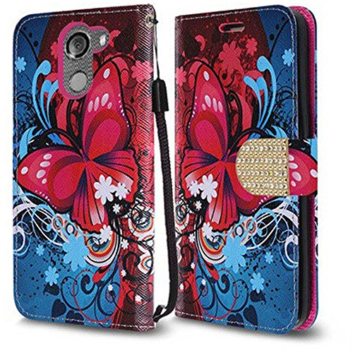 Alcatel A30 Fierce (2017) / Alcatel A30 Plus Walters / Alcatel REVVL 5049W (Not For Coolpad REVVL Plus) Case, Luckiefind Premium PU Leather Flip Wallet Cover Case, Pen & Screen Protector (Butterfly)